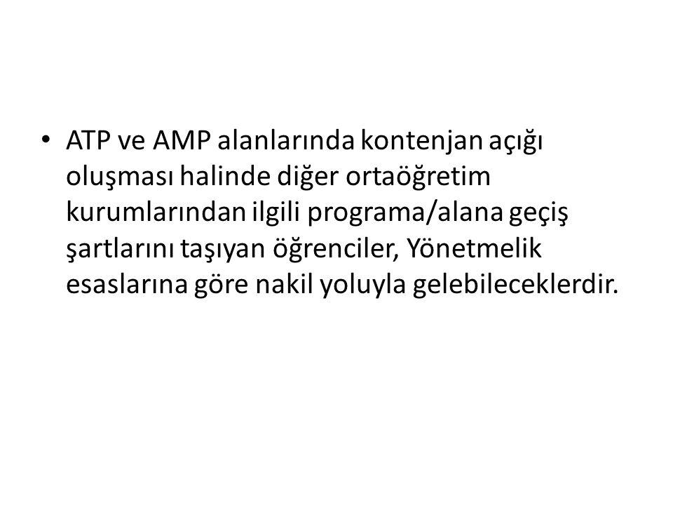 ATP ve AMP alanlarında kontenjan açığı oluşması halinde diğer ortaöğretim kurumlarından ilgili programa/alana geçiş şartlarını taşıyan öğrenciler, Yönetmelik esaslarına göre nakil yoluyla gelebileceklerdir.