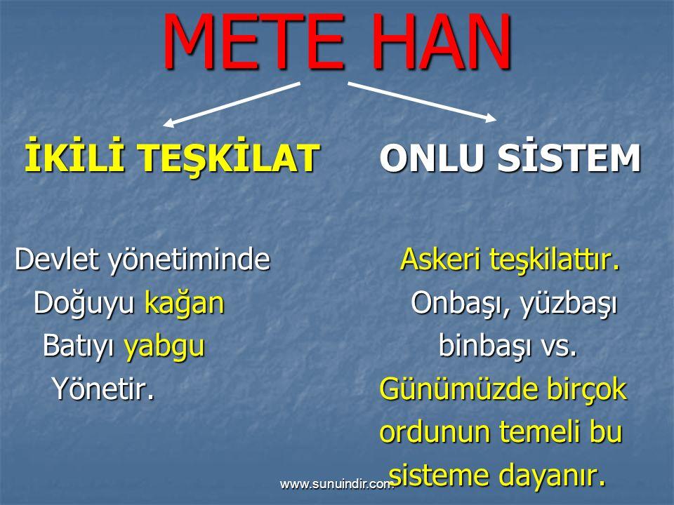 www.sunuindir.com METE HAN İKİLİ TEŞKİLAT ONLU SİSTEM İKİLİ TEŞKİLAT ONLU SİSTEM Devlet yönetiminde Askeri teşkilattır.