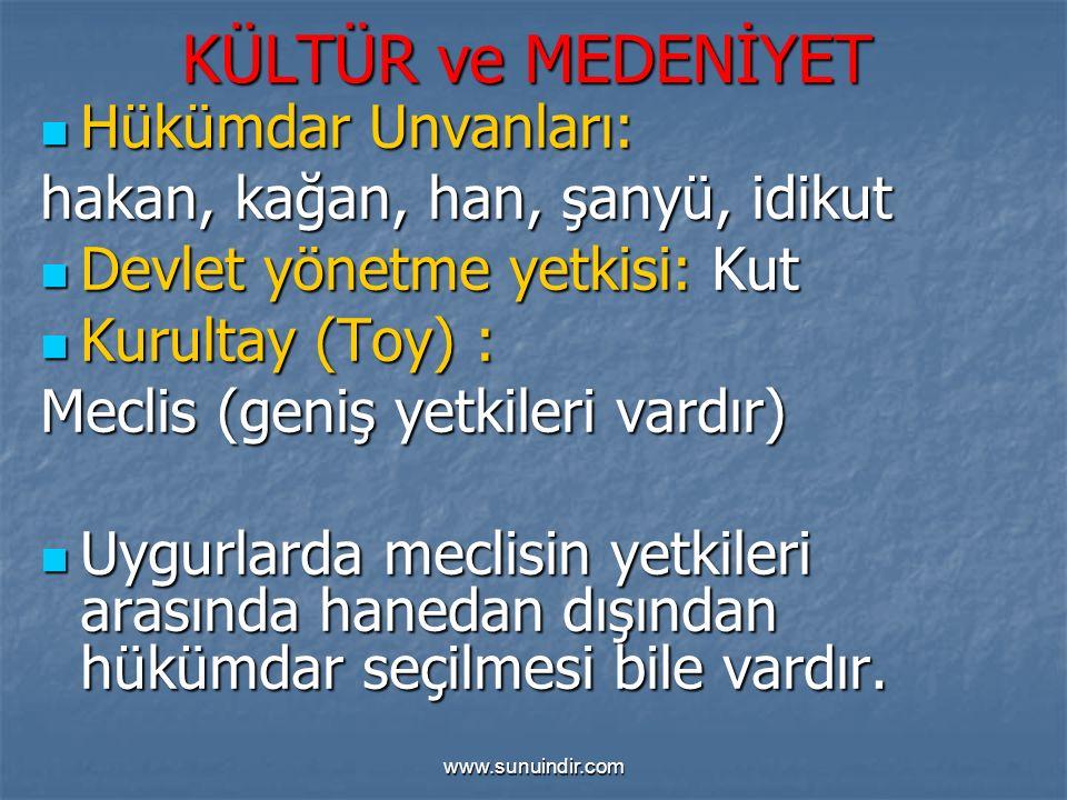 www.sunuindir.com KÜLTÜR ve MEDENİYET Hükümdar Unvanları: Hükümdar Unvanları: hakan, kağan, han, şanyü, idikut Devlet yönetme yetkisi: Kut Devlet yöne