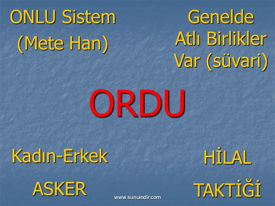 www.sunuindir.com ORDU ONLU Sistem (Mete Han) Kadın-ErkekASKER Genelde Atlı Birlikler Var (süvari) HİLALTAKTİĞİ
