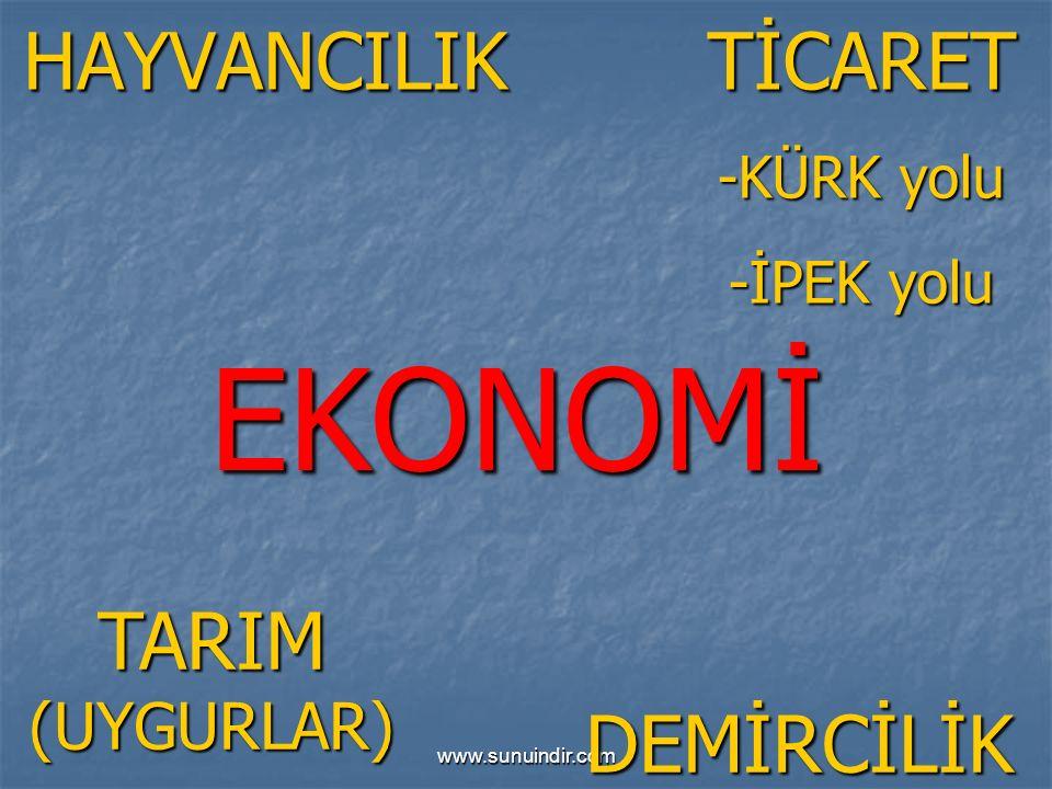 www.sunuindir.com EKONOMİ HAYVANCILIK TARIM (UYGURLAR) TİCARET -KÜRK yolu -İPEK yolu DEMİRCİLİK