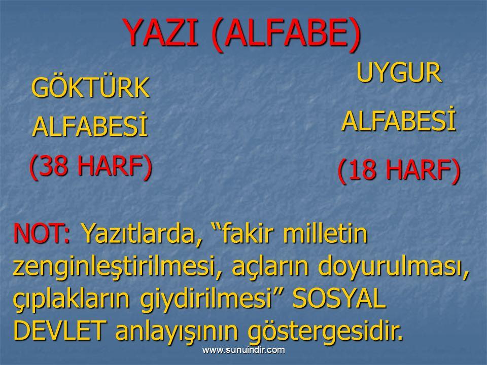 www.sunuindir.com YAZI (ALFABE) GÖKTÜRKALFABESİ (38 HARF) UYGURALFABESİ (18 HARF) NOT: Yazıtlarda, fakir milletin zenginleştirilmesi, açların doyurulması, çıplakların giydirilmesi SOSYAL DEVLET anlayışının göstergesidir.