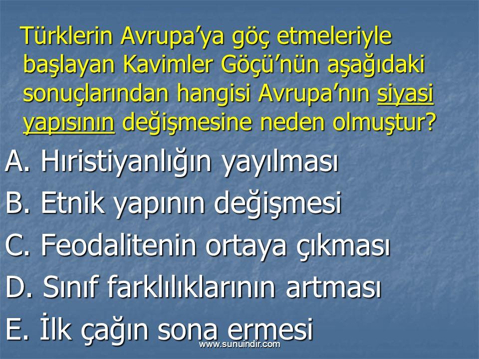 www.sunuindir.com Türklerin Avrupa'ya göç etmeleriyle başlayan Kavimler Göçü'nün aşağıdaki sonuçlarından hangisi Avrupa'nın siyasi yapısının değişmesi