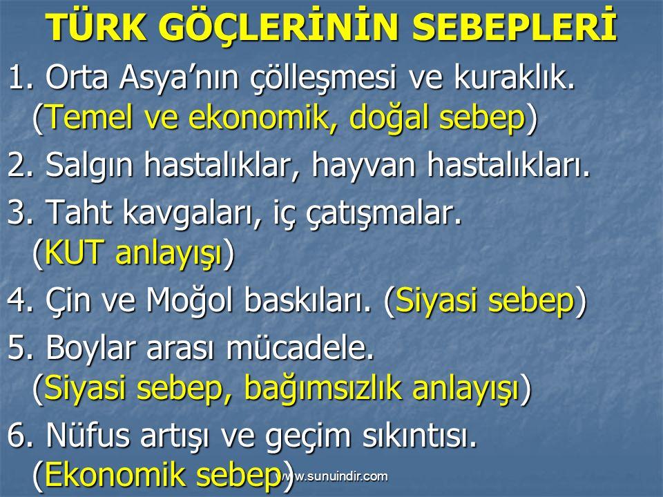 www.sunuindir.com TÜRK GÖÇLERİNİN SEBEPLERİ 1. Orta Asya'nın çölleşmesi ve kuraklık. (Temel ve ekonomik, doğal sebep) 2. Salgın hastalıklar, hayvan ha