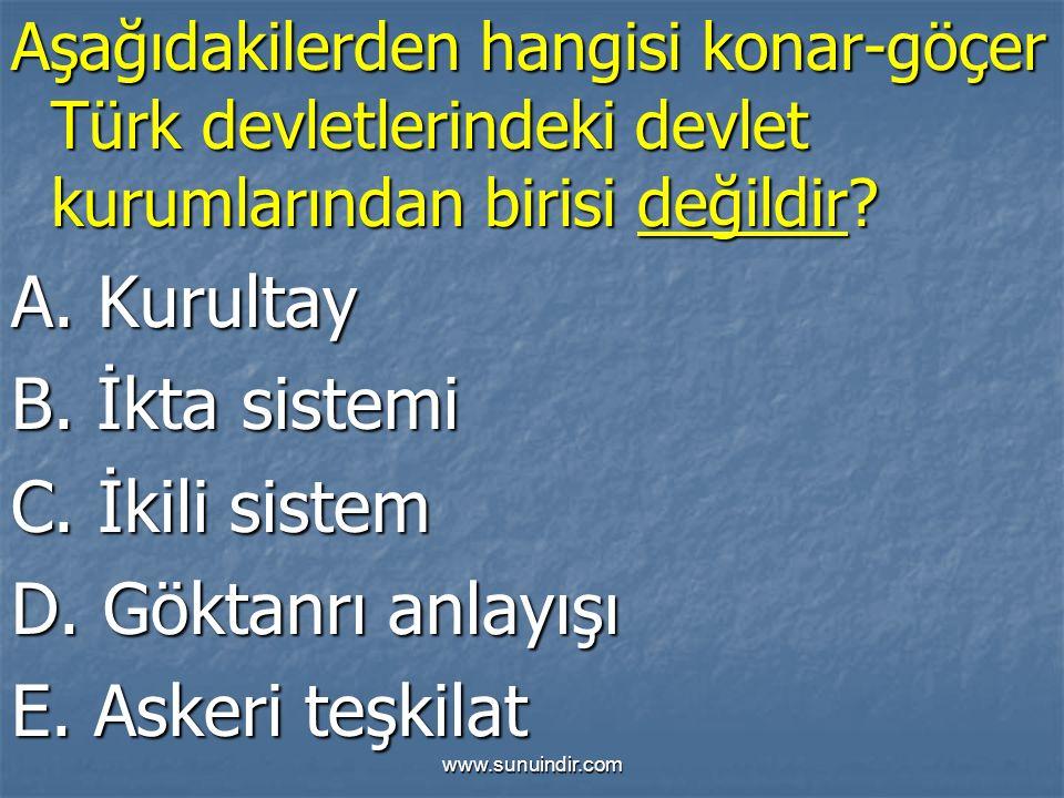 www.sunuindir.com Aşağıdakilerden hangisi konar-göçer Türk devletlerindeki devlet kurumlarından birisi değildir.