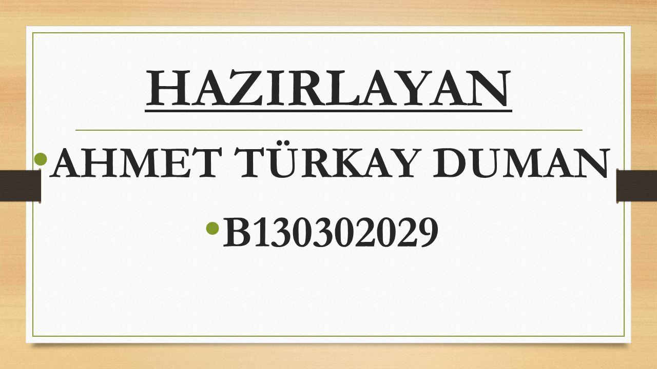 HAZIRLAYAN AHMET TÜRKAY DUMAN B130302029