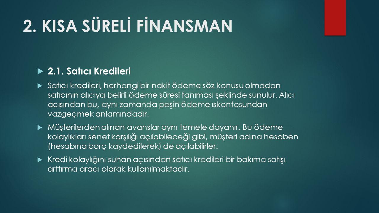2.KISA SÜRELİ FİNANSMAN  2.1.