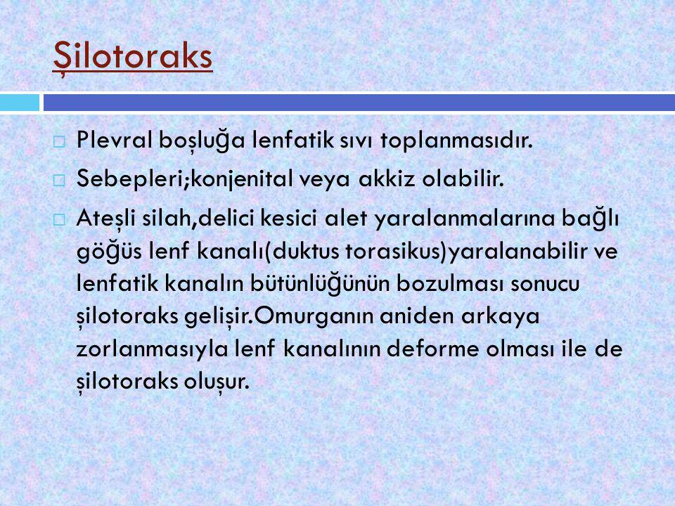 Şilotoraks  Plevral boşlu ğ a lenfatik sıvı toplanmasıdır.  Sebepleri;konjenital veya akkiz olabilir.  Ateşli silah,delici kesici alet yaralanmalar