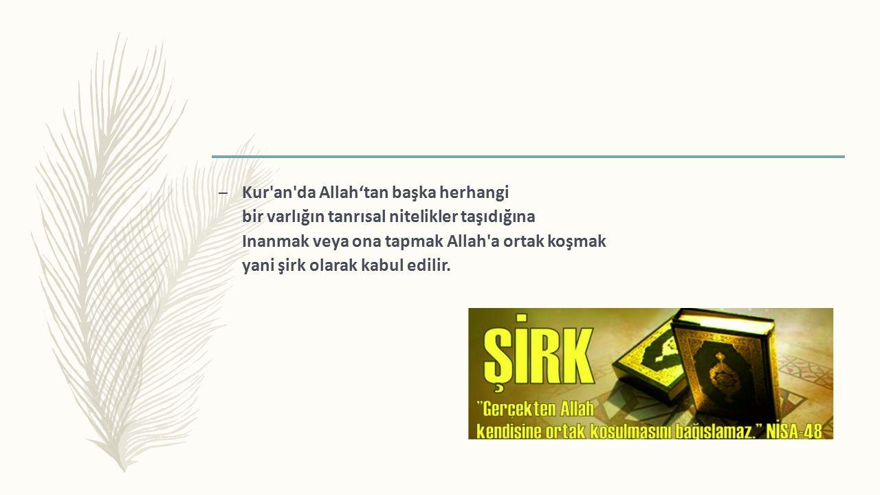 – Kur an da Allah'tan başka herhangi bir varlığın tanrısal nitelikler taşıdığına Inanmak veya ona tapmak Allah a ortak koşmak yani şirk olarak kabul edilir.