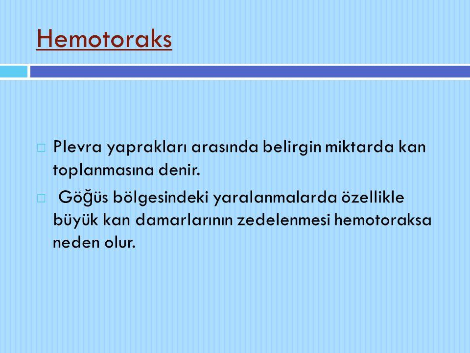 Hemotoraks  Plevra yaprakları arasında belirgin miktarda kan toplanmasına denir.  Gö ğ üs bölgesindeki yaralanmalarda özellikle büyük kan damarların