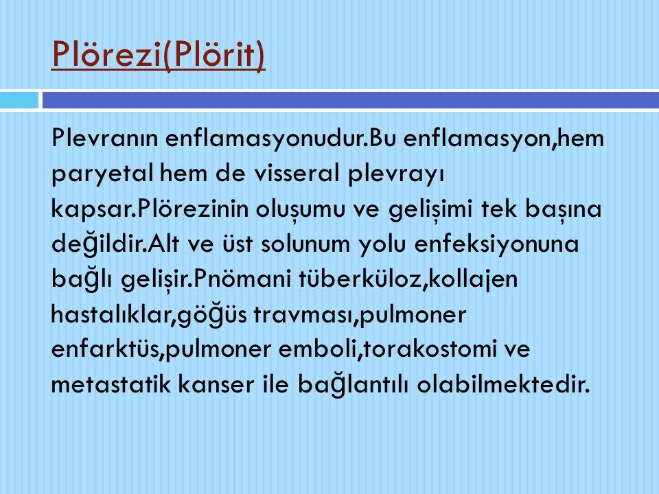 Plörezi(Plörit) Plevranın enflamasyonudur.Bu enflamasyon,hem paryetal hem de visseral plevrayı kapsar.Plörezinin oluşumu ve gelişimi tek başına de ğ i
