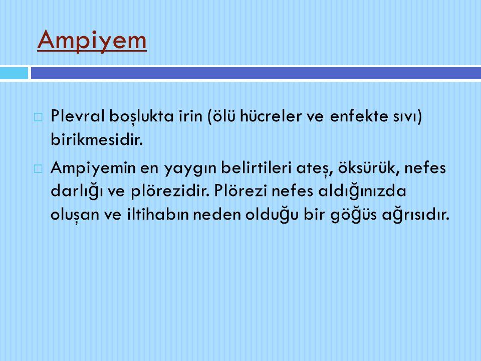 Ampiyem  Plevral boşlukta irin (ölü hücreler ve enfekte sıvı) birikmesidir.  Ampiyemin en yaygın belirtileri ateş, öksürük, nefes darlı ğ ı ve plöre