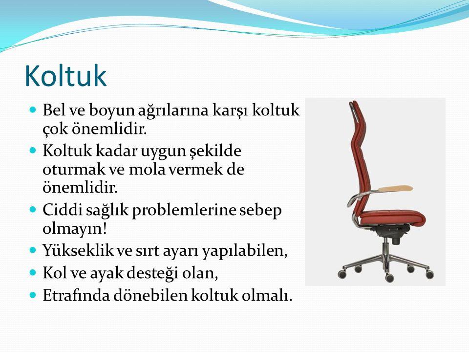 Koltuk Bel ve boyun ağrılarına karşı koltuk çok önemlidir. Koltuk kadar uygun şekilde oturmak ve mola vermek de önemlidir. Ciddi sağlık problemlerine