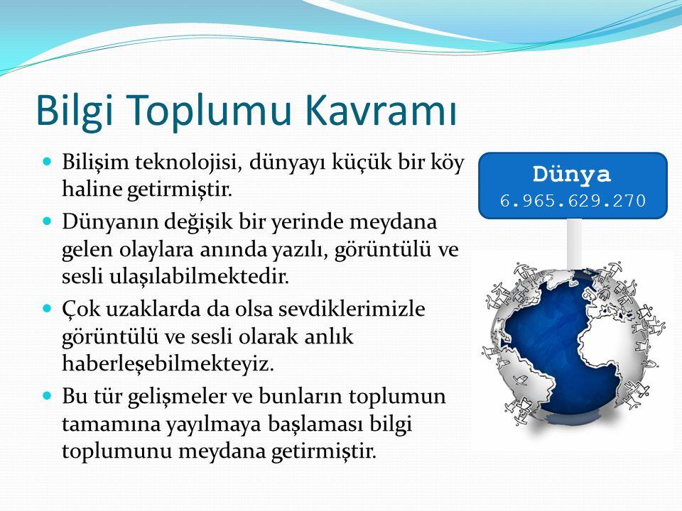 Bilgi Otoyolu Kavramı Bir ülkenin bilginin iletilmesinde kullandığı bütün iletişim sistemleri o ülkenin bilgi otoyolunu oluşturur.