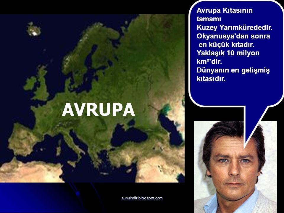 sunuindir.blogspot.com AVRUPA Avrupa Kıtasının tamamı Kuzey Yarımkürededir.