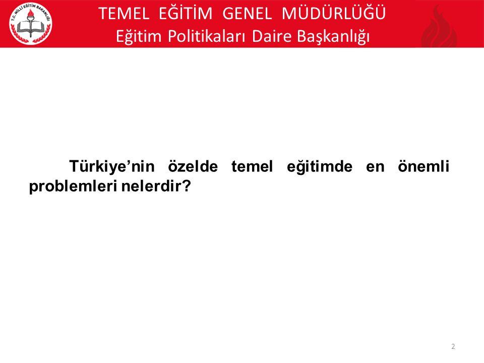 TEMEL EĞİTİM GENEL MÜDÜRLÜĞÜ Eğitim Politikaları Daire Başkanlığı 2 Türkiye'nin özelde temel eğitimde en önemli problemleri nelerdir