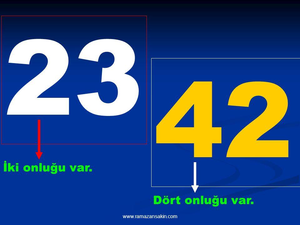 Onluğu fazla olan sayı, diğerinden büyüktür. 42, 23' ten büyüktür.