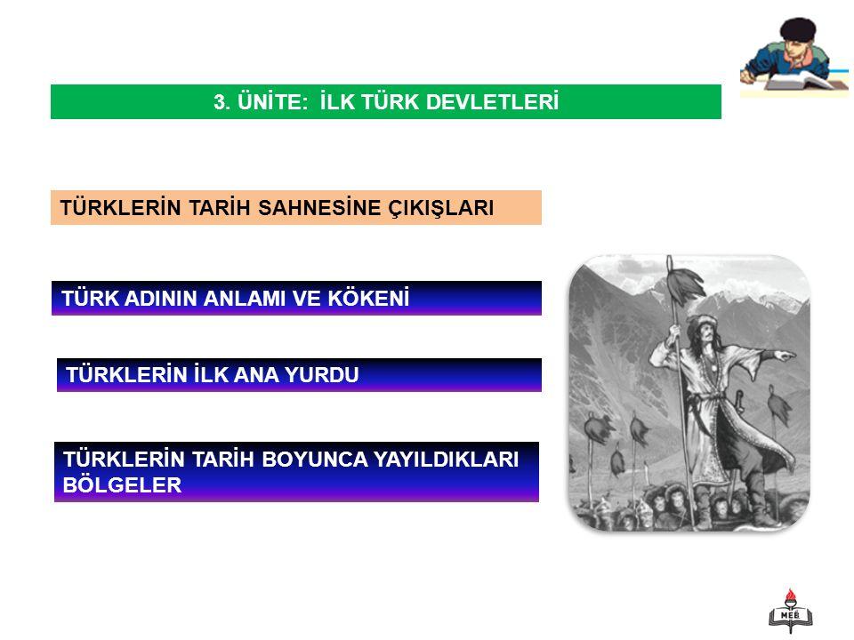 1 TÜRKLERİN TARİH SAHNESİNE ÇIKIŞLARI TÜRK ADININ ANLAMI VE KÖKENİ 3.
