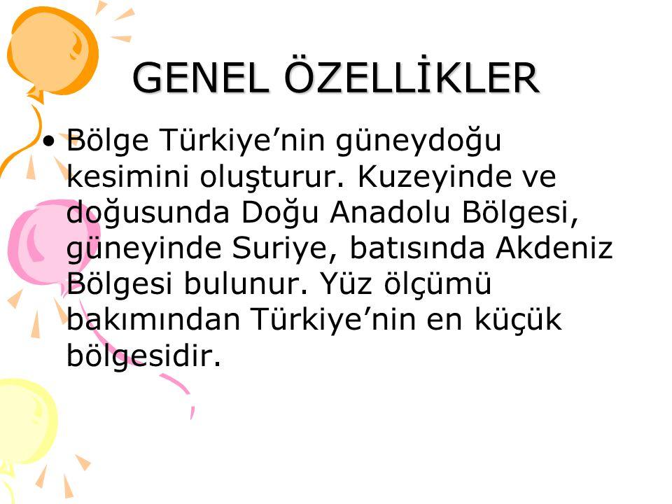 GENEL ÖZELLİKLER Bölge Türkiye'nin güneydoğu kesimini oluşturur. Kuzeyinde ve doğusunda Doğu Anadolu Bölgesi, güneyinde Suriye, batısında Akdeniz Bölg