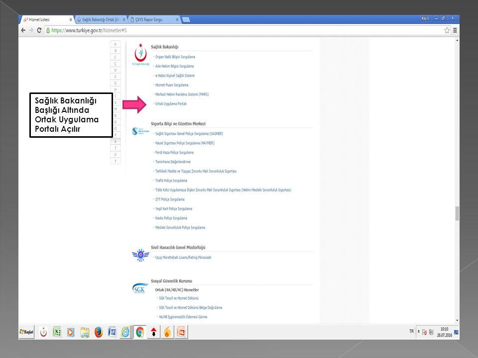 Sağlık Bakanlığı Başlığı Altında Ortak Uygulama Portalı Açılır