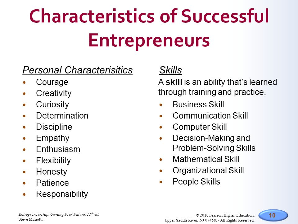 "characteristics of entrepreneurs My top 10 traits of successful entrepreneurs: 1 planning there's a lot of talk about ""p"" words: passion, perseverance, and persistence i mistrust all three."