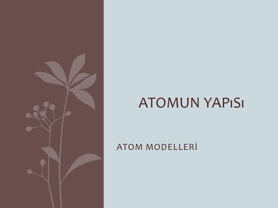 DALTON ATOM MODELİ THOMSON ATOM MODELİ BOHR ATOM MODELİ RUTHERFORD ATOM MODELİ