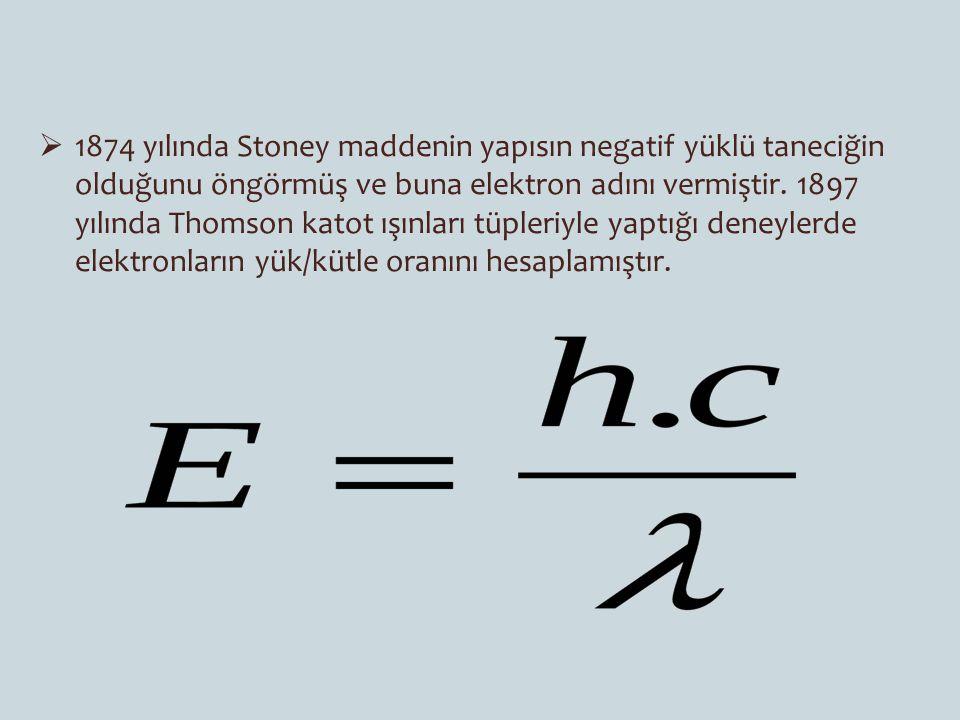  1874 yılında Stoney maddenin yapısın negatif yüklü taneciğin olduğunu öngörmüş ve buna elektron adını vermiştir. 1897 yılında Thomson katot ışınları