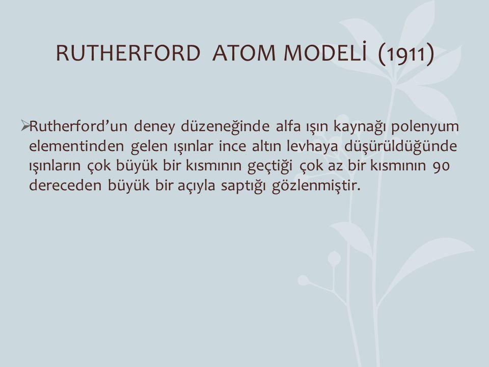 RUTHERFORD ATOM MODELİ (1911)  Rutherford'un deney düzeneğinde alfa ışın kaynağı polenyum elementinden gelen ışınlar ince altın levhaya düşürüldüğünd
