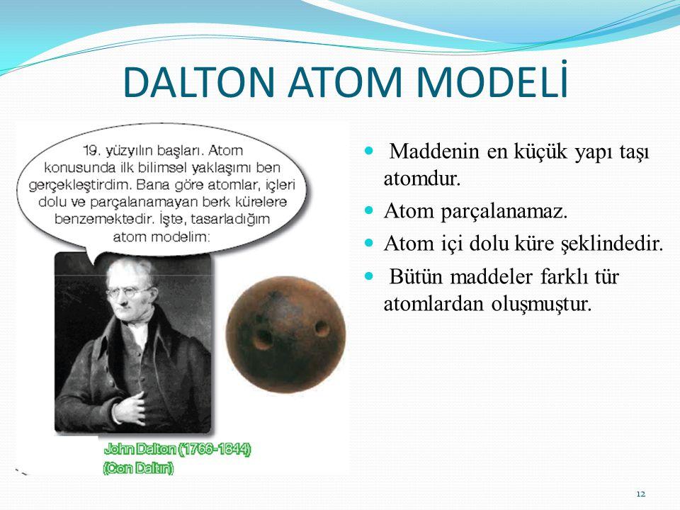 DALTON ATOM MODELİ Maddenin en küçük yapı taşı atomdur. Atom parçalanamaz. Atom içi dolu küre şeklindedir. Bütün maddeler farklı tür atomlardan oluşmu
