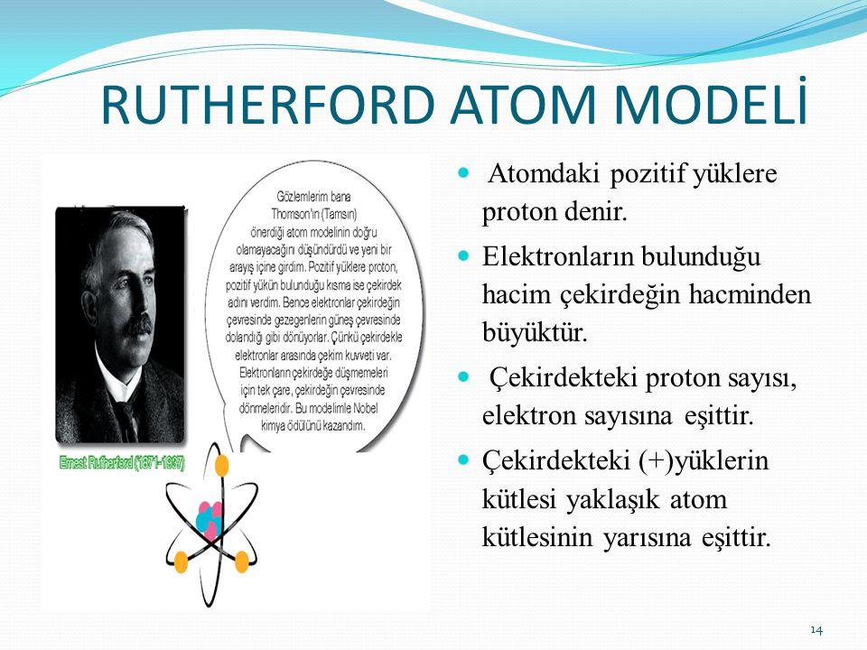 RUTHERFORD ATOM MODELİ Atomdaki pozitif yüklere proton denir. Elektronların bulunduğu hacim çekirdeğin hacminden büyüktür. Çekirdekteki proton sayısı,