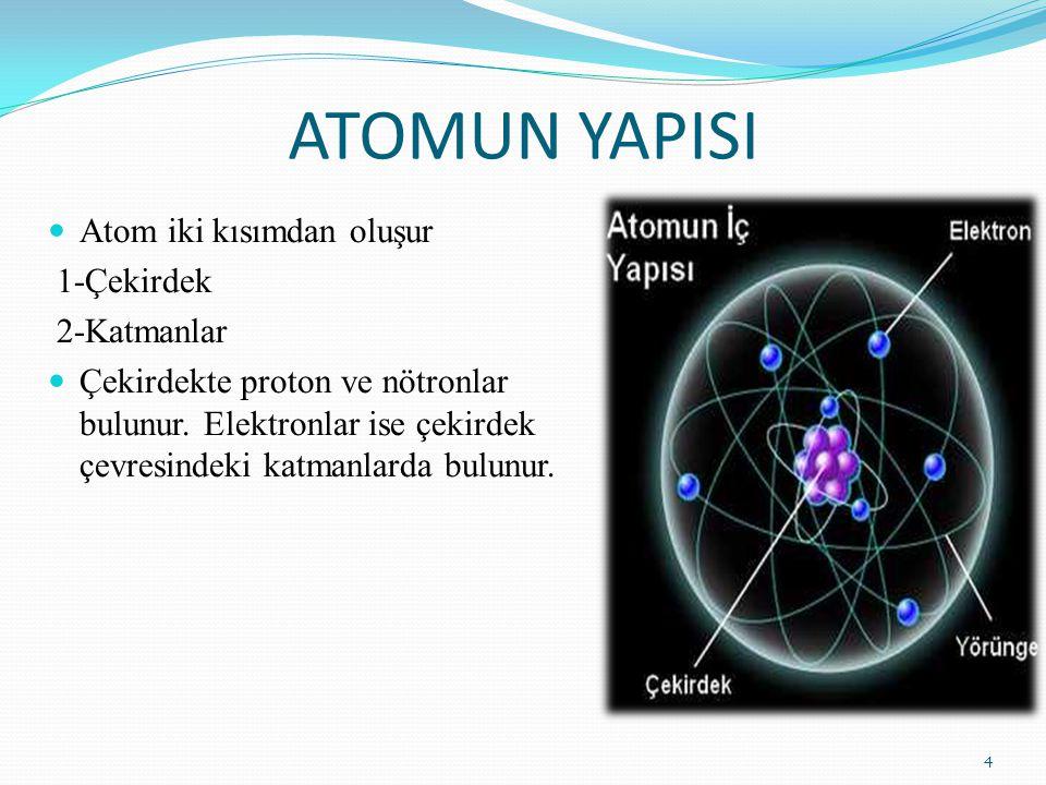 ATOMUN YAPISI Atom iki kısımdan oluşur 1-Çekirdek 2-Katmanlar Çekirdekte proton ve nötronlar bulunur. Elektronlar ise çekirdek çevresindeki katmanlard