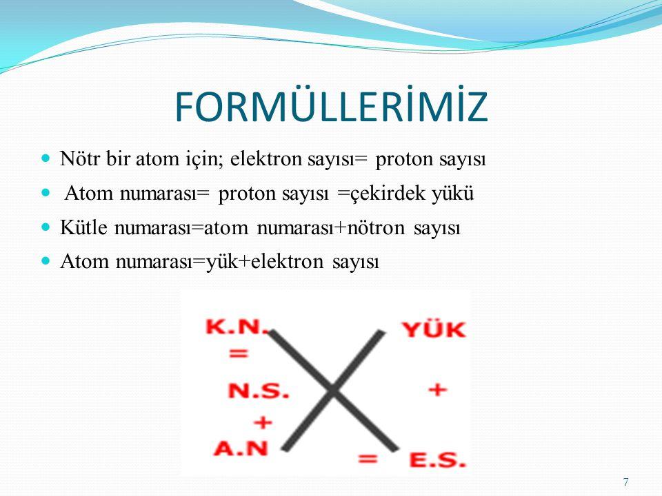 FORMÜLLERİMİZ Nötr bir atom için; elektron sayısı= proton sayısı Atom numarası= proton sayısı =çekirdek yükü Kütle numarası=atom numarası+nötron sayıs