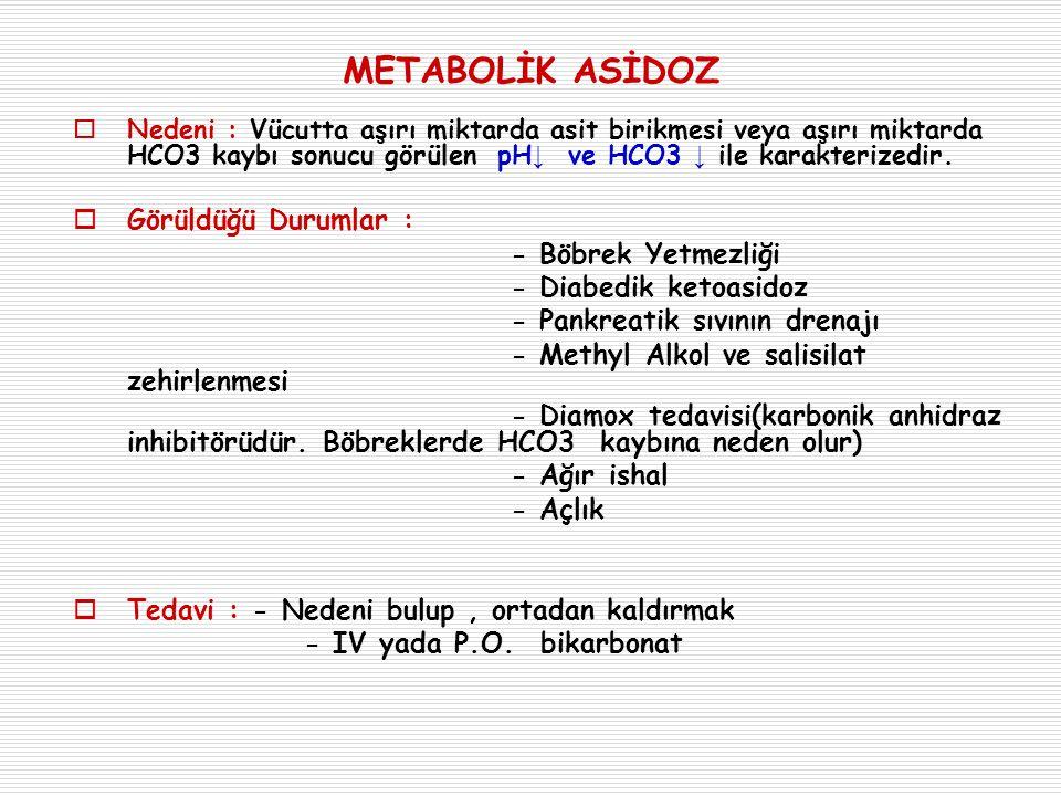 METABOLİK ASİDOZ  Nedeni : Vücutta aşırı miktarda asit birikmesi veya aşırı miktarda HCO3 kaybı sonucu görülen pH ↓ ve HCO3 ↓ ile karakterizedir.  G