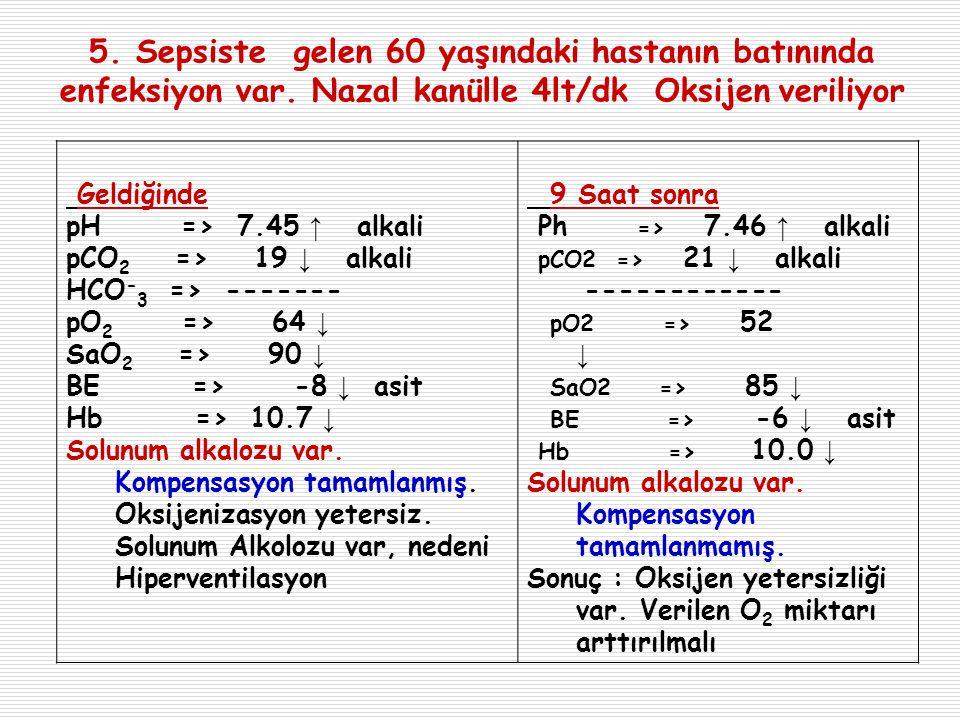5. Sepsiste gelen 60 yaşındaki hastanın batınında enfeksiyon var. Nazal kanülle 4lt/dk Oksijen veriliyor Geldiğinde pH => 7.45 ↑ alkali pCO 2 => 19 ↓