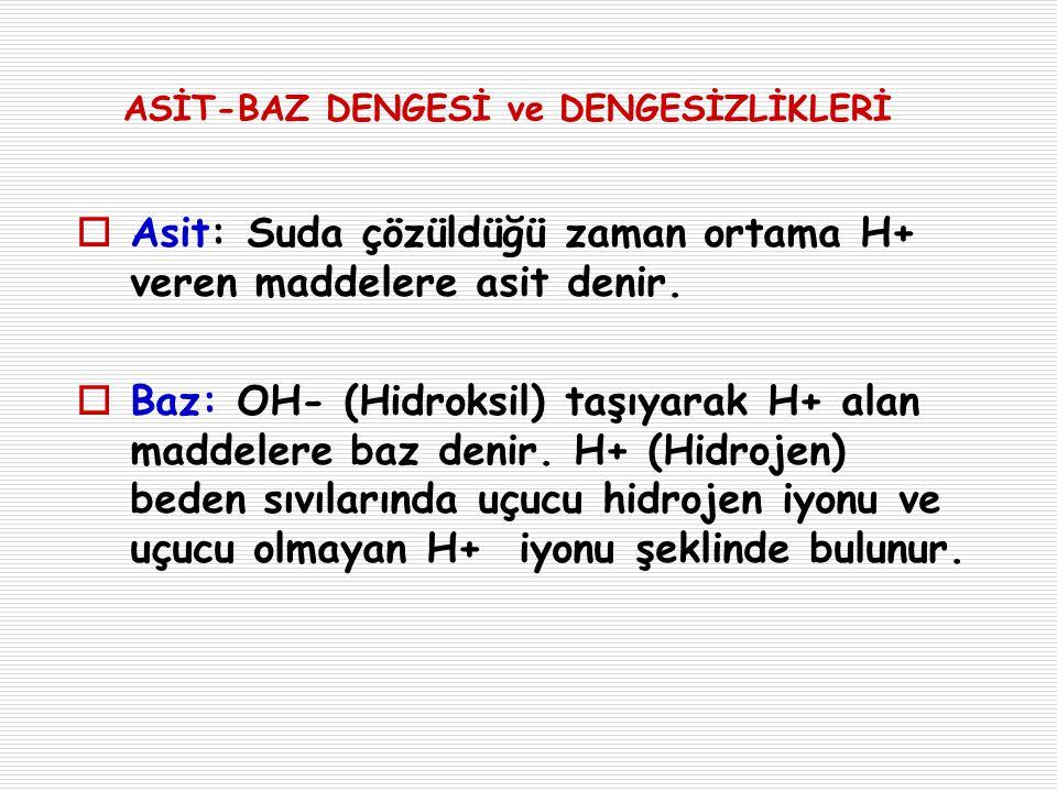 ASİT – BAZ BOZUKLUKLARININ ÖZETİ Bozukluklar Aksaklıklar Dengelenme(Kompansasyon) Solunum Asidozu PaCO2 ↑ HCO3 ↑ (Böbreklerde tutulur) Solunum Alkalozu PaCO2 ↓ HCO3 ↓ (Böbreklerden atılır) Metabolik Asidoz HCO3 ↓ Hiperventilasyon (PaCO2 ↓ ) Metabolik Alkaloz HCO3 ↑ Hipoventilasyon (PaCO2 ↑ )