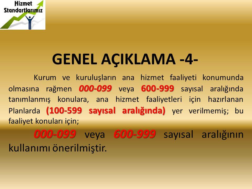 GENEL AÇIKLAMA -4- 000-099600-999 (100-599 sayısal aralığında) Kurum ve kuruluşların ana hizmet faaliyeti konumunda olmasına rağmen 000-099 veya 600-9