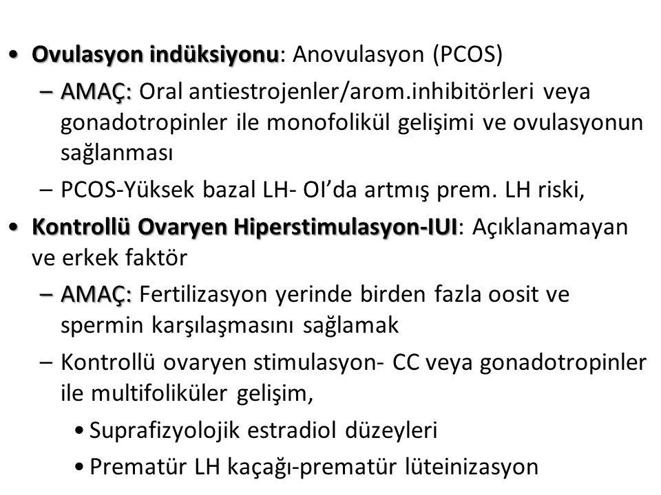 Ovulasyon indüksiyonuOvulasyon indüksiyonu: Anovulasyon (PCOS) –AMAÇ: –AMAÇ: Oral antiestrojenler/arom.inhibitörleri veya gonadotropinler ile monofolikül gelişimi ve ovulasyonun sağlanması –PCOS-Yüksek bazal LH- OI'da artmış prem.