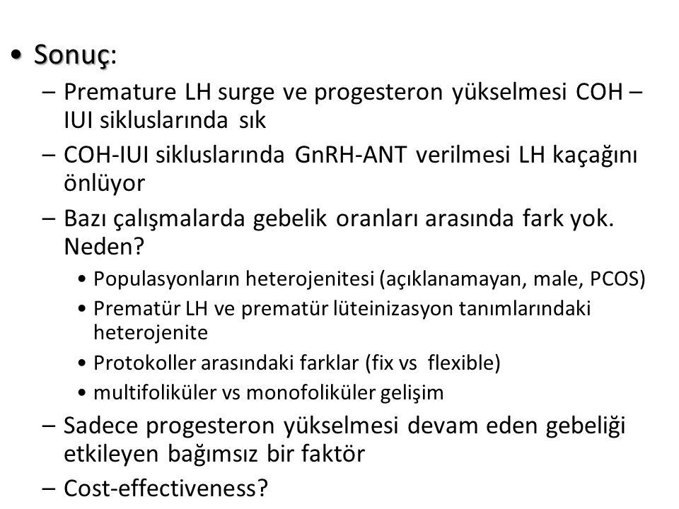 SonuçSonuç: –Premature LH surge ve progesteron yükselmesi COH – IUI sikluslarında sık –COH-IUI sikluslarında GnRH-ANT verilmesi LH kaçağını önlüyor –Bazı çalışmalarda gebelik oranları arasında fark yok.
