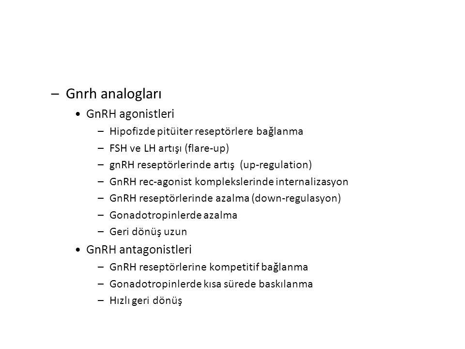 –Gnrh analogları GnRH agonistleri –Hipofizde pitüiter reseptörlere bağlanma –FSH ve LH artışı (flare-up) –gnRH reseptörlerinde artış (up-regulation) –GnRH rec-agonist komplekslerinde internalizasyon –GnRH reseptörlerinde azalma (down-regulasyon) –Gonadotropinlerde azalma –Geri dönüş uzun GnRH antagonistleri –GnRH reseptörlerine kompetitif bağlanma –Gonadotropinlerde kısa sürede baskılanma –Hızlı geri dönüş