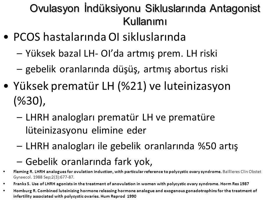 PCOS hastalarında OI sikluslarında –Yüksek bazal LH- OI'da artmış prem. LH riski –gebelik oranlarında düşüş, artmış abortus riski Yüksek prematür LH (