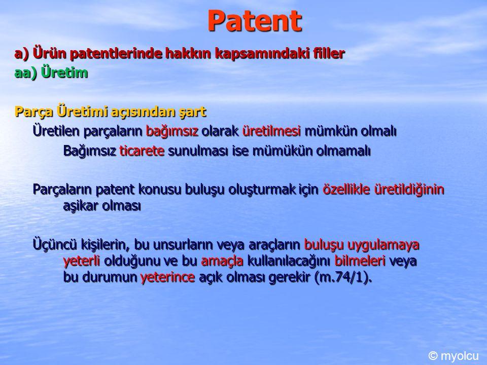Patent bb) Usul ile doğrudan doğruya elde edilen ürünlere yönelik fiiller Ürünün usulün doğrudan sonucu olmasının tespiti Ürünün ticari hayattaki değeri neye borçlu Patent konusu usulün uygulanmasının ürünü artı değer katıp katmadığı Ürünün varlık sebebinin doğrudan patent konsusu usul olup olmadığı Usül ile ürün arasında yeterli bağın olup olmadığı Usulün uygulnamsı ile ürünün ortaya çıkması arasındaki aşamada arayua başaka bir ürütim aşamasının girip girmdiği Ürünün üretiminde birden fazla usul kullanılmışsa ve usuller aynı anda kullanılmışsa ortaya çıkan ürün her bir usulün bu usullür sırasıyla kullanılmışsa nihai ürün üzerinde en çok etkisi olan usulün doğrudan soncudur.