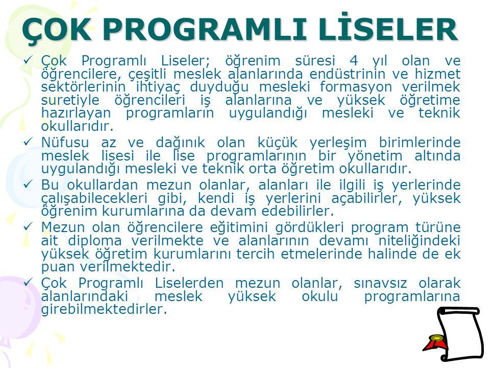ÇOK PROGRAMLI LİSELER Çok Programlı Liseler; öğrenim süresi 4 yıl olan ve öğrencilere, çeşitli meslek alanlarında endüstrinin ve hizmet sektörlerinin