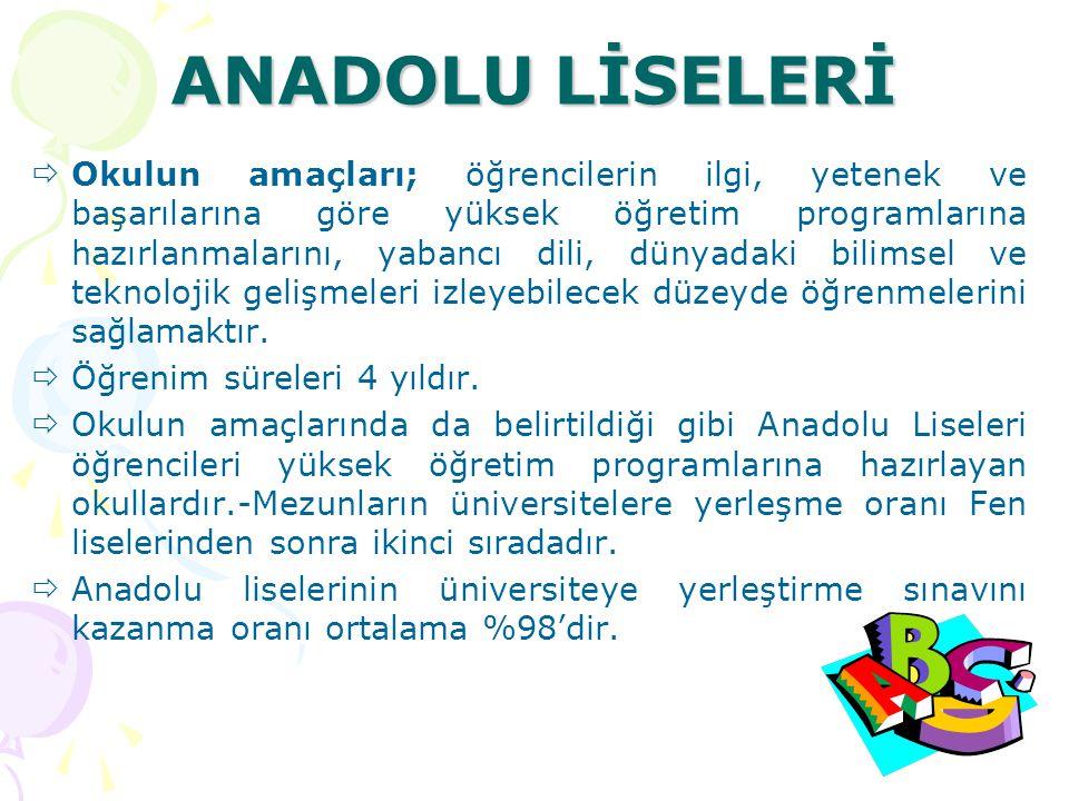ANADOLU TAPU VE KADASTRO MESLEK LİSESİ Anadolu Tapu ve Kadastro Meslek Liseleri, öğretim süresi 4 yıl olan okullardır.