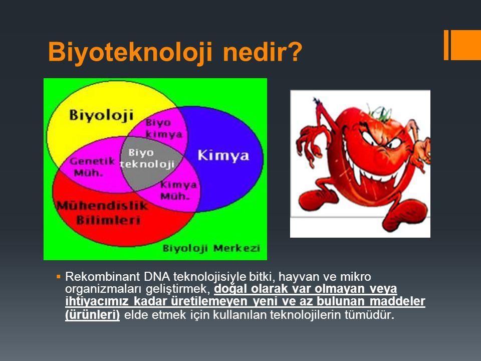 Biyoteknoloji nedir?  Rekombinant DNA teknolojisiyle bitki, hayvan ve mikro organizmaları geliştirmek, doğal olarak var olmayan veya ihtiyacımız kada