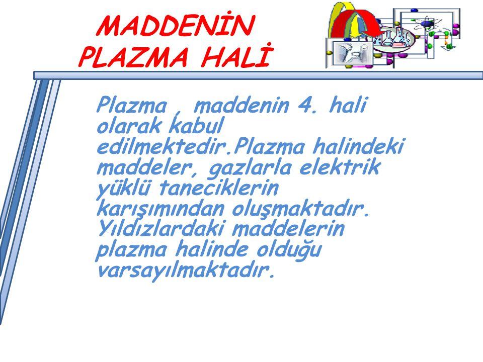 MADDENİN PLAZMA HALİ Plazma, maddenin 4.