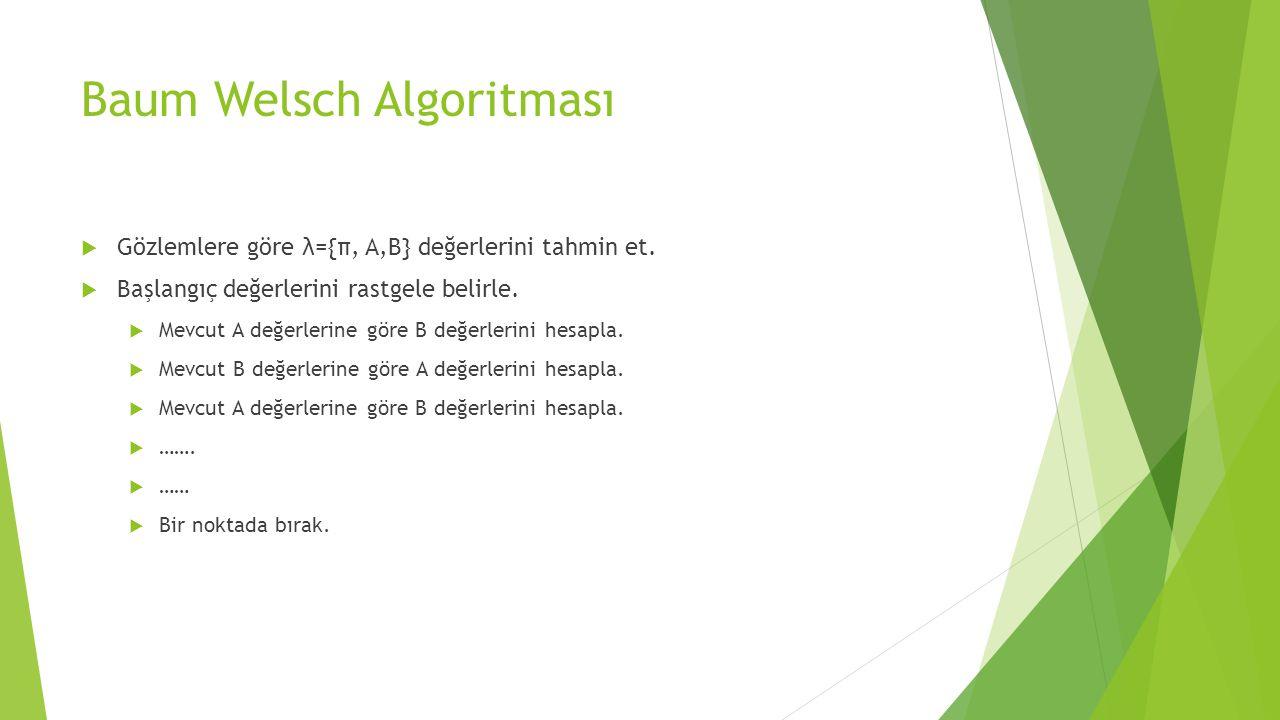 Baum Welsch Algoritması  Gözlemlere göre λ={π, A,B} değerlerini tahmin et.  Başlangıç değerlerini rastgele belirle.  Mevcut A değerlerine göre B de