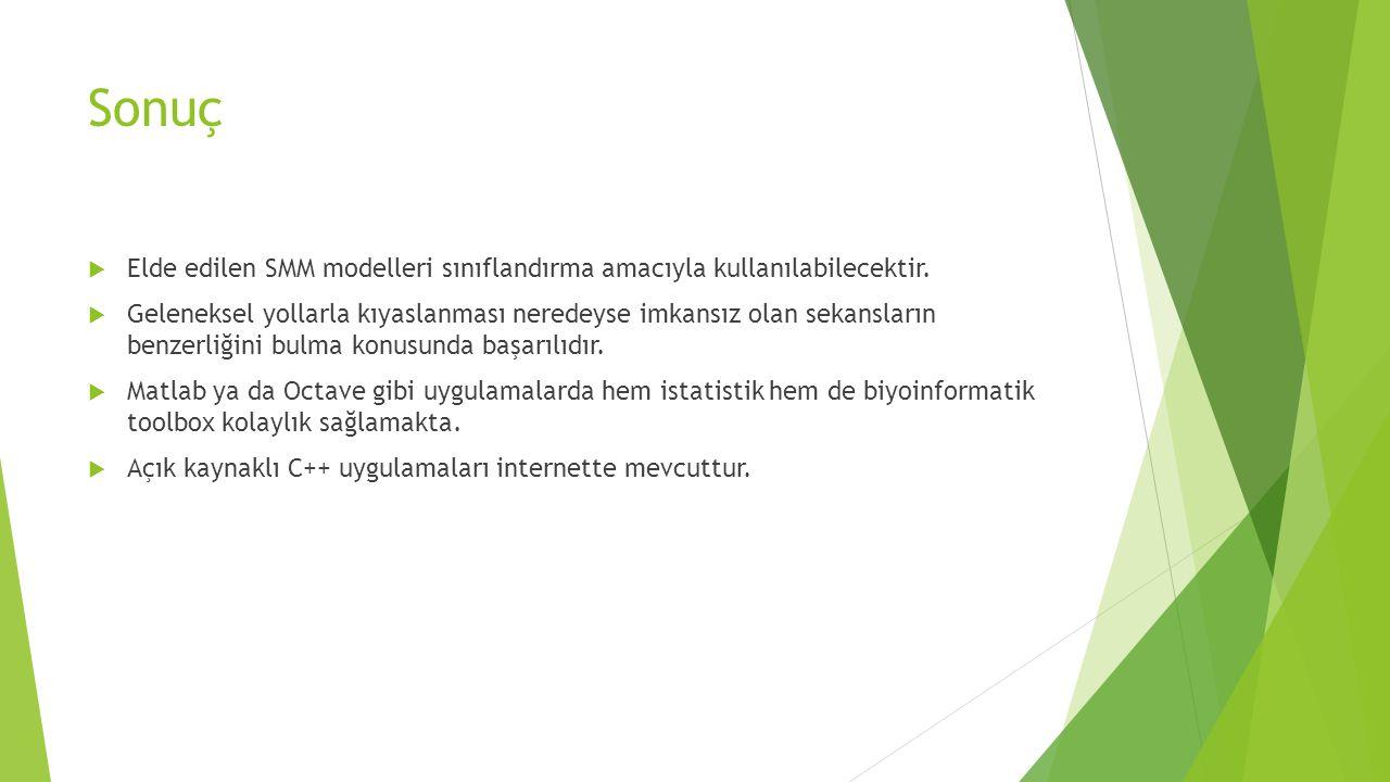 Sonuç  Elde edilen SMM modelleri sınıflandırma amacıyla kullanılabilecektir.  Geleneksel yollarla kıyaslanması neredeyse imkansız olan sekansların b