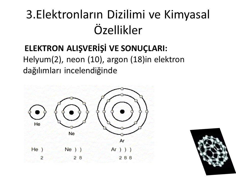3.Elektronların Dizilimi ve Kimyasal Özellikler ELEKTRON ALIŞVERİŞİ VE SONUÇLARI: Helyum(2), neon (10), argon (18)in elektron dağılımları incelendiğin