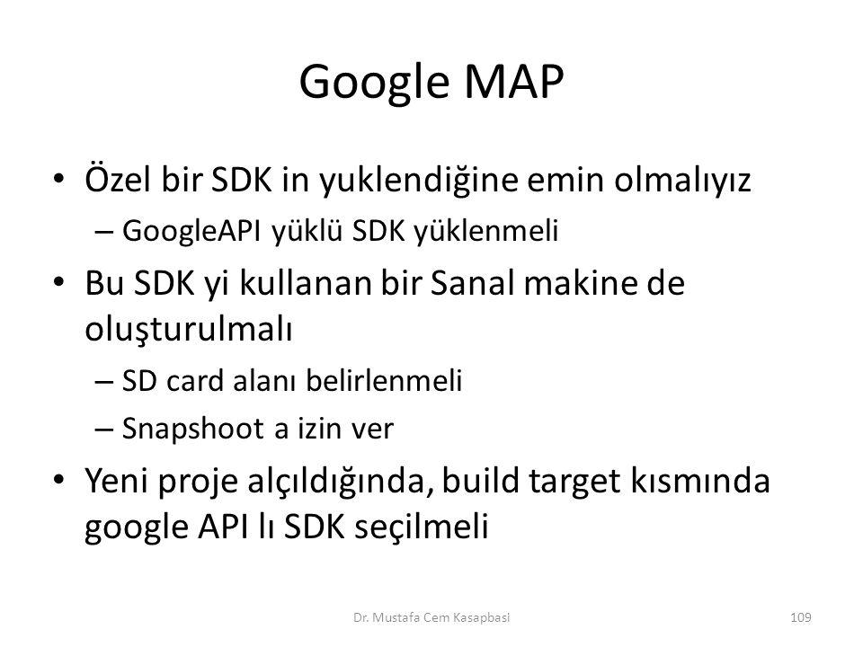 Google MAP Özel bir SDK in yuklendiğine emin olmalıyız – GoogleAPI yüklü SDK yüklenmeli Bu SDK yi kullanan bir Sanal makine de oluşturulmalı – SD card