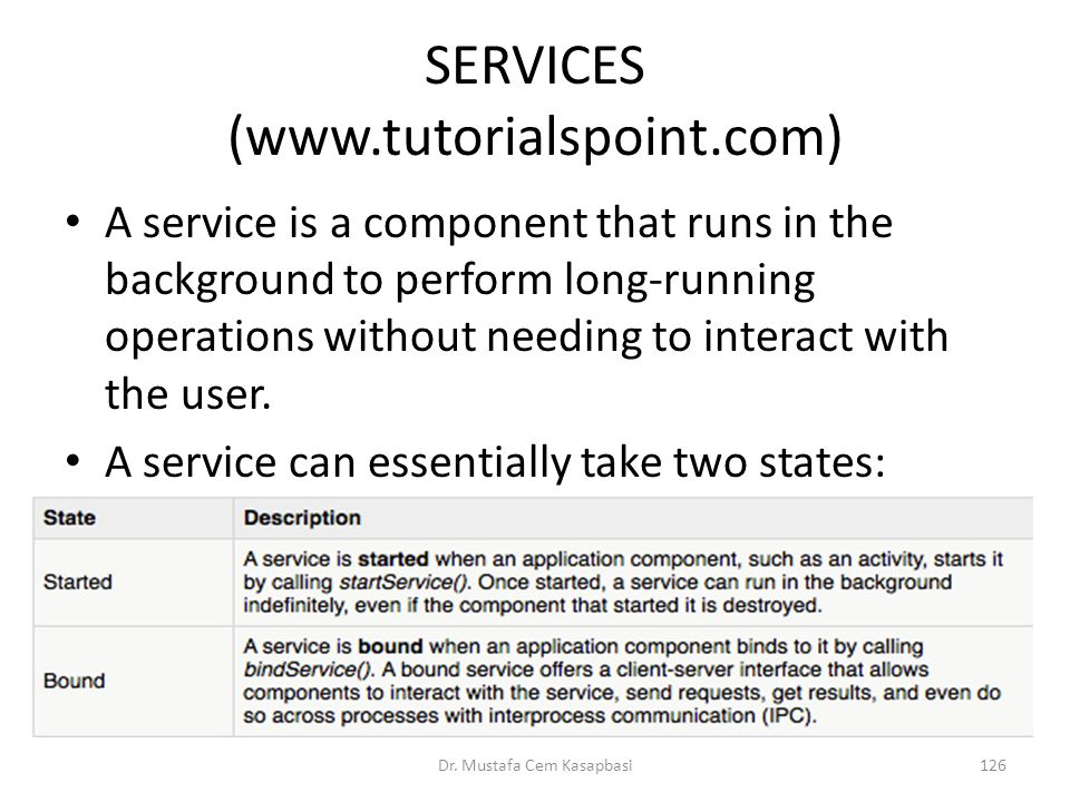 SERVICES (www.tutorialspoint.com) A service is a component that runs in the background to perform long-running operations without needing to interact
